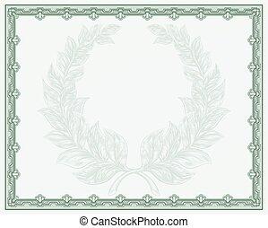 certificado, scroll, fundo, modelo
