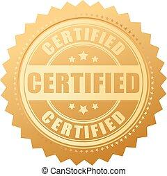 certificado, sello oro