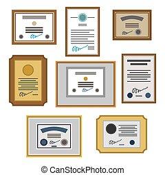 certificado, set., ilustração, vetorial, distinção, diploma., template.