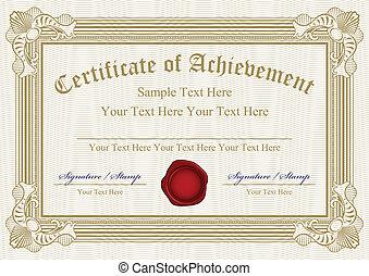 certificado, vector, logro, w