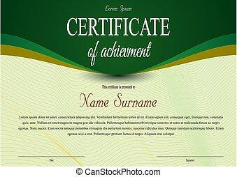 certificado, vetorial, luxo, modelo, verde, cor, diploma, fita