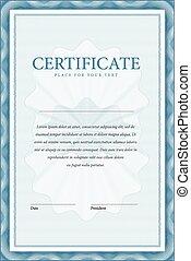 certificado., vetorial, padrão, que, é, usado, em, moeda...