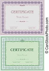 certificados, diferente, jogo, cores, dois