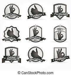 certificados, emblemas, mar, vetorial