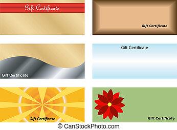 certificados, jogo, presente
