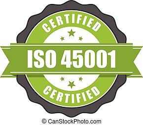 certificat, 45001, -, norme, santé, sécurité, iso, écusson