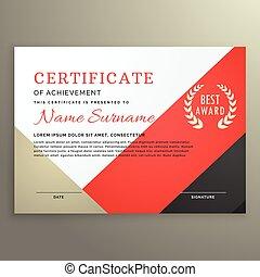 certificat, accomplissement, gabarit