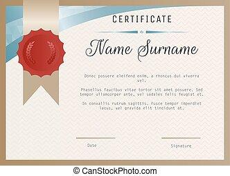 certificat, cachet, stamp., cire, vecteur, gabarit, vide