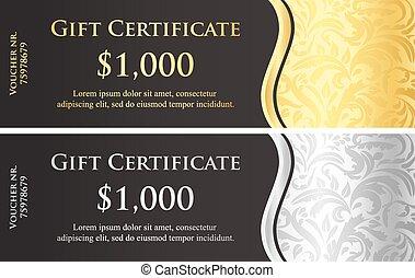 certificat, classique, cadeau, décoration, victorien, noir