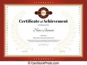 certificat, de, accomplissement, gabarit, à, frontière rouge, et, rouges, joint or