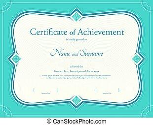 certificat, de, accomplissement, gabarit, dans, vecteur, à, appliqué, thaï, art, fond, vert, couleur