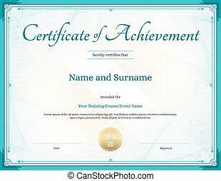 certificat, de, accomplissement, gabarit, dans, vecteur, pour, accomplissement, remise de diplomes, achèvement