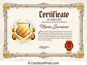 certificat, de, achèvement, vendange, cadre