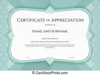 certificat, de, appréciation, gabarit, dans, vecteur, à, appliqué, thaï, art, fond, vert, couleur