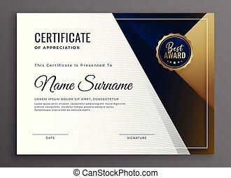 certificat, diplôme, élégant, conception, gabarit, accomplissement