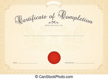 certificat, diplôme, de, completion., cadre