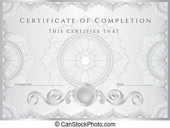 certificat, diplôme, de, completion., guilloche