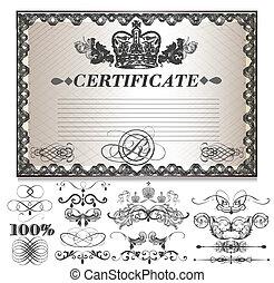 certificat don, ensemble, à, decorati