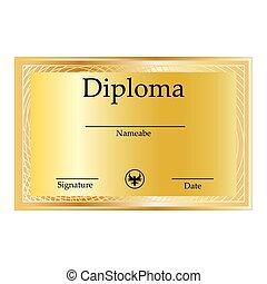 certificat, et, diplômes, gabarit