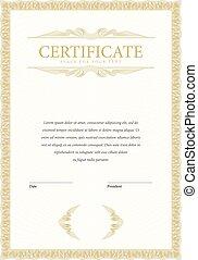 certificat, et, diplômes, template.
