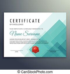 certificat, excellence, gabarit