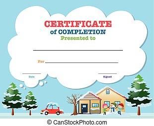 certificat, gabarit, à, gosses, dans, hiver