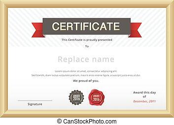 certificat, gabarit, et, or, border., education, certificat, template., vecteur, template.