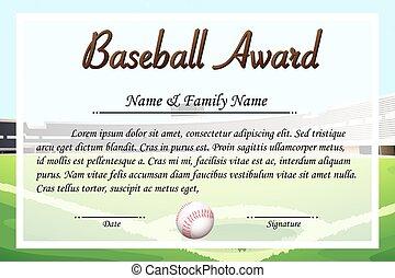 certificat, gabarit, pour, base-ball, récompense