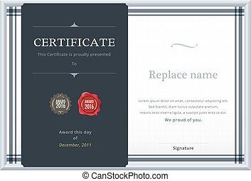 certificat, or, résumé, diplôme, vecteur, gabarit, label., template., illustration.