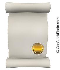 certificat, rouleau, à, doré, cachet