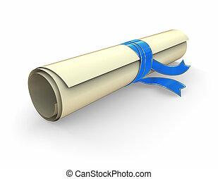 certificat, rouleau, à, ruban bleu
