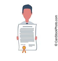 certificat., style, business, illustration., mâle, commis, branché, isolé, arrière-plan., plat, concept., caractère, blanc, objets, simple, ou, tient, homme affaires