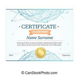 certificat, template., vecteur