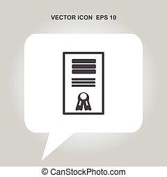 certificat, vecteur, icône