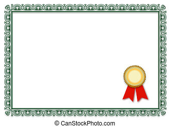 A simple frame of a typical certificate. All isolated on white background.