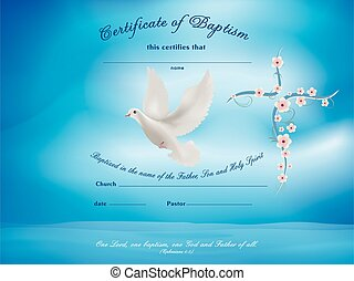 Certificate baptism template with dove and cross with flowers