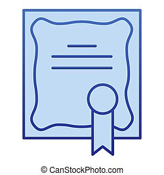 Certificate color icon. Diploma award with seal symbol, ...