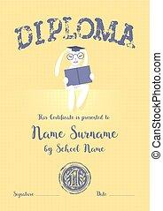 Certificate, diploma for kid at preschool, school, kindergarten vector illustration