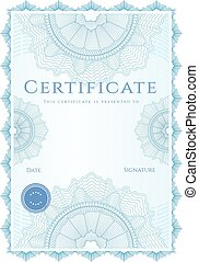Certificate, Diploma of competion. Guilloche