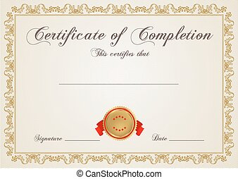 Certificate, Diploma of completion. Border