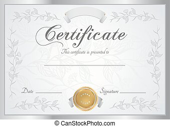 Certificate, Diploma of completion (design template, background) with floral, scroll, swirl pattern border, frame. Certificate of Achievement, Achievement, School awards, Certificate of education, winner