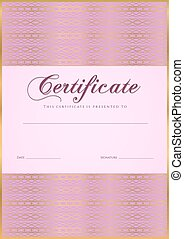 Certificate, Diploma of completion .Guilloche