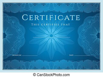 Certificate, Diploma of completion. Guilloche
