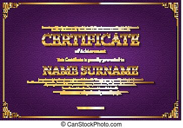 Certificate Diploma of completion.