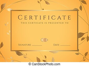 Certificate, Diploma of completion . Frame