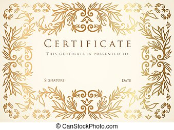 Certificate, Diploma of completion. Frame