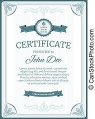 Certificate, diploma vector template design