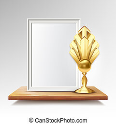 Certificate Diploma With Golden Cup . Honor Background. Graduate Champion. A4 Frame. 3D Realistic Illustration