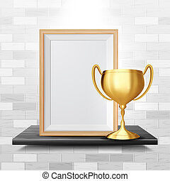 Certificate Diploma With Golden Cup . Luxury Paper. Vintage Appreciation. A4 Frame. 3D Realistic Illustration