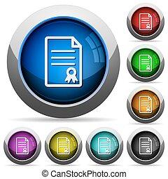 Certificate document button set